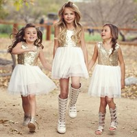 High Quality Girl Dresses  Gold sequins Children Clothing white with Gold Costume Kid's Party Dress Baby Girls Clothes
