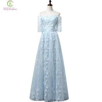 New Evening Dress Sweet Light Blue Lace Flower Floor-length Long Prom Dresses The Bride Elegant Party Formal Own