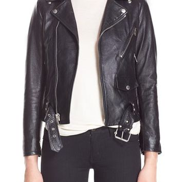 Saint Laurent Studded Lambskin Leather Moto Jacket | Nordstrom