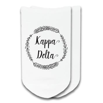 Kappa Delta - Sorority Name with Wreath No-Show Socks