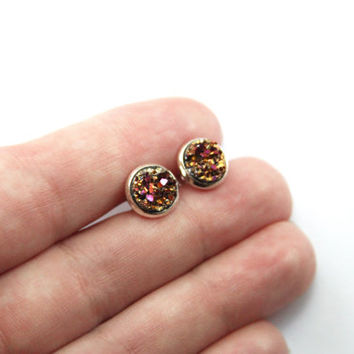 NEW - SMALL Gold & Pink Chunky Faux Druzy Earrings - Posts/Studs 8mm SMALL