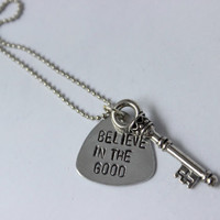 quote necklace, believe in the good, key charm, graduation gift, inspirational, quote jewelry, bridesmaid gift, arrow, custom necklace