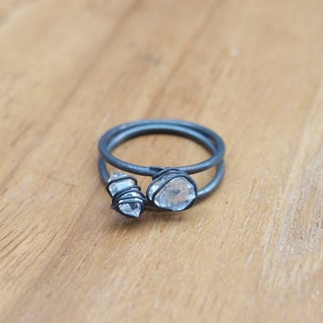 Herkimer diamond stacking ring in black silver, oxidised sterling silver ring with organic wire wrapping