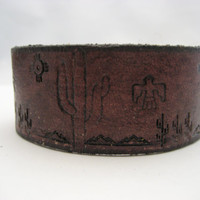 Southwestern Leather Bracelet Mahogany Leather Cuff Real Leather Saguaro Cactus Bracelet Hand Tooled Snap on Leather Jewelry Gifts Under 20
