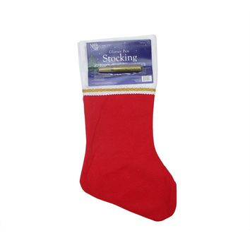 "19"" Traditional Red Customizable Christmas Stocking with Gold Glitter Pen"
