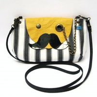 piiqshop - Market Place - Mr. Mustache with Monocle Black and White Striped Cotton Yellow Leather Flap Cross Body Clutch Purse with Adjustable & Detachable Black Faux Suede