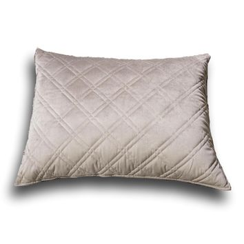 """DaDa Bedding Taupe Grey Velvet Quilted King Pillow Sham - 20"""" x 36"""" (JHW831)"""