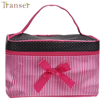 women fashion and practical Cosmetic Bag Comfystyle Square Bow Stripe Cosmetic Bag san16di