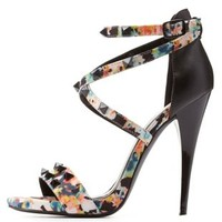 Multi Qupid Studded Strappy Printed Heels by Qupid at Charlotte Russe