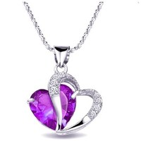 Kobwa(TM) Diamond Accent Amethyst Heart Shape Pendant Necklace,Purple with Kobwa's Keyring