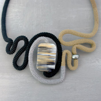 Abstract Design Necklace, Three Colors Crochet Tube Statement Ensemble Black Grey Beige