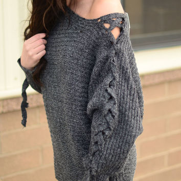 On Your Side Sweater- Charcoal