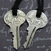 Lion Masterlock Key Necklaces on Black Suede Knotted Cord Set of 2
