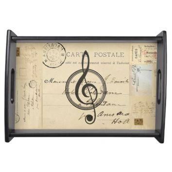 Vintage Music Clef French Postcard Serving Tray