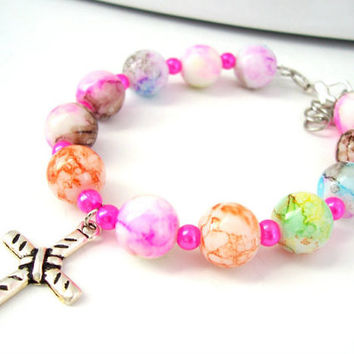 Multi Colored Children's Christian Bracelet, Cross Jewelry, Colorful Bracelet, Kids Jewelry, First Communion Gift, Childrens Bracelet