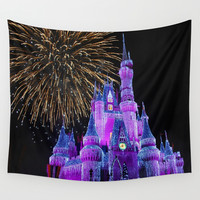 Disney Magic Kingdom Fireworks at Christmas - Cinderella Castle Wall Tapestry by Hub Photos