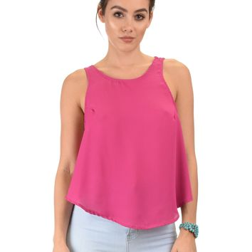 Lyss Loo Totally Crossed Out Magenta Tank Top