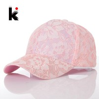 2016 Snapback Women's Baseball Caps Lace Sun Hats Breathable Mesh Hat Visors Gorras Summer Cap For Women Casquette