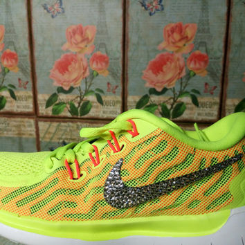 blinged nike free 5.0+2 run yellow color customized with swarovski crystal rhinestones