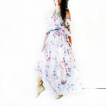 Lurdes english morning garden\bohemian white maxi dress\white long chiffon dress with floral printing\festival dress\off the shoulders dress