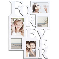 "Furnistar White Wood ""Forever"" Collage Hanging Picture Photo Frame"