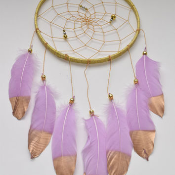 Gold Dream catcher, Large Dream catcher, Lavender Feathers, Wedding Gift Idea, Wall Hanging Decor, Boho Dream catcher, Baby Girl Nursery
