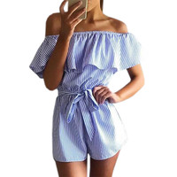 Summer Women Playsuits Jumpsuits Sexy Casual Striped Playsuit Ruffles Slash Neck Beach Overalls with Belts Girls Femininos GV571