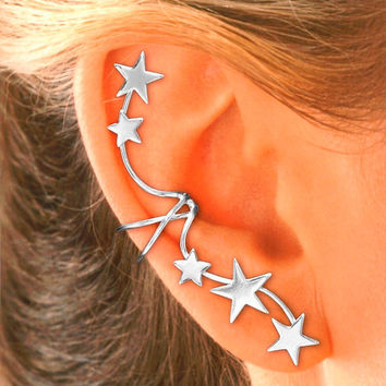 Full Ear, 5 Star Ear Cuff in Sterling Silver-Single