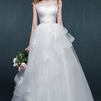 Sleeveless Wedding Dress with Sheer Top