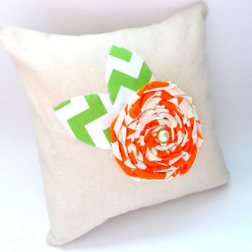 Decorative Chevron Flower Pillow, 3 Dimensional Twisted Fabric Flower, Orange and Cream Chevron, Green and Chartreuse, Chic Home Decor