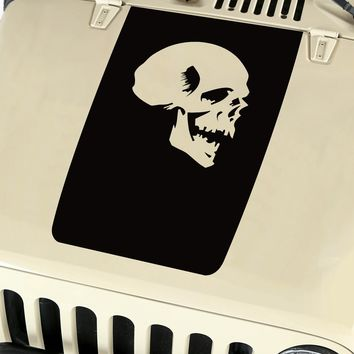 Skull Hood Blackout Vinyl Decal Sticker (14) fits: Jeep Wrangler JK TJ YJ