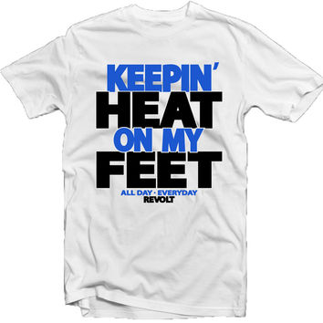 Revolt Apparel Heat on My Feet Sport Blue White Tee