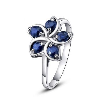 Blue Natural Sapphire Peach Flower Gift 925 Sterling Silver Ring