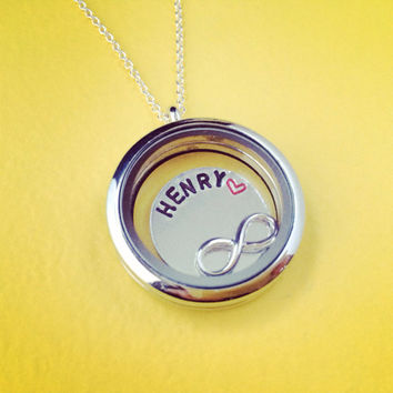 Memory Locket With Handstamped Disc Name Necklace Handmade SHIPS FROM USA