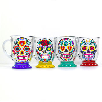 Sugar Skull - Mug Set, Day of the Dead, Coffee Mug, Dia De Los Muertos, Hand Painted Mug, Custom Mug, Unique Coffee Mugs, Spanish Decor