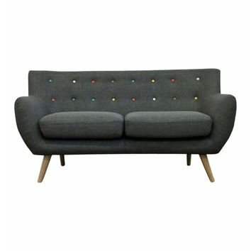 Ebba 2-Seater Sofa - Grey (with multicolor buttons) | Modern, Mid-Century & Scandinavian | GFURN