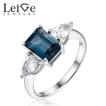 LEIGE JEWELRY LONDON BLUE TOPAZ RING WITH WHITE TOPAZ SILVER 925 ROMANTIC WEDDING PROMISE RINGS FOR WOMEN ANNIVERSARY GIFT