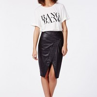 Missguided - April Wrap Over Faux Leather Midi Skirt Black