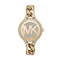 DCCK2JE Michael Kors Women's 38mm Goldtone Pav= Slim Runway Chain Link Watch