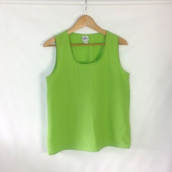Vintage Tank Top Sporty Sleeveless Top Neon Green Lightweight Poly bust 41 inch bust