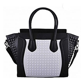 Black and White Studded Tote