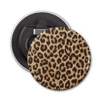 Leopard Print Button Bottle Opener