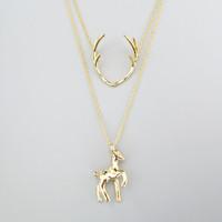 Double layered, Deer, Antler, Gold, Silver, Necklace, Modern, Unique, Animal, Jewelry, Birthday, Lovers, Sister, Gift, Jewelry