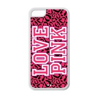 Treasure Design Funny Love Pink Cheetah Victoria Secret IPHONE 5C Best Rubber Cover Case