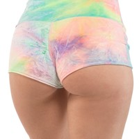 Yoga Shorts in Bubble Tie Dye Velvet