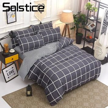 Cool Solstice Home Textile King Queen Twin Bedding Sets Girl Boy Kid Teen Bedlinen Suit Stripe Plaid Duvet Cover Pillowcase Bed SheetAT_93_12