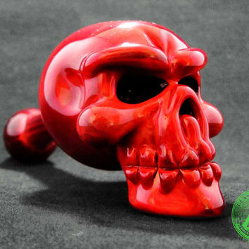 Red Skull Heady Glass Pipe