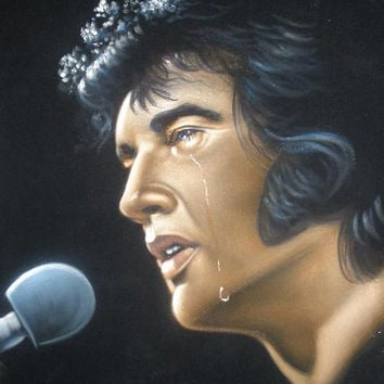 Elvis Presley The king  black velvet original oil painting handpainted signed art 18 by 24 inches