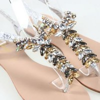 Luxury Rhinestone Flat Sandals