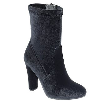 Ladies fashion reflections of sock-like ankle boot, closed almond toe, block heel, zipper closure
